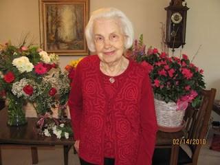Grandma Bee celebrating Valentine's Day in 2010
