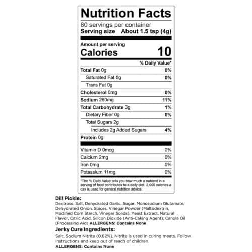 Dill Pickle 10 lb Yield Nutr Facts_3