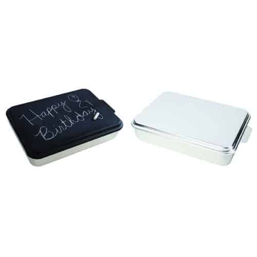 Natural Aluminum and Chalkboard Cake Pan 2 Pack