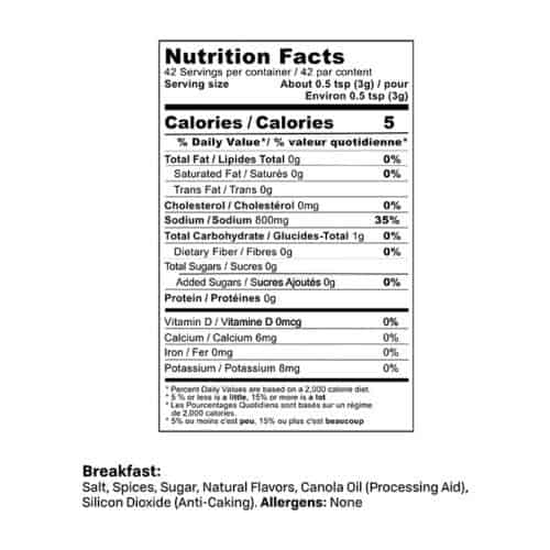 Breakfast Sausage Seasoning nutrition facts