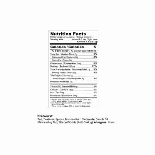 Bratwurst Sausage Seasoning Nutrition Facts