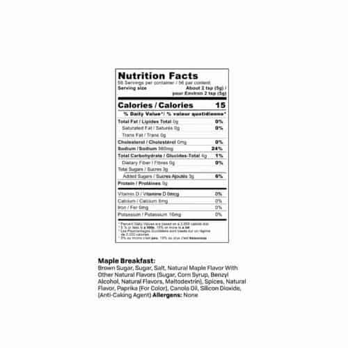 Maple Breakfast Sausage Seasoning Nutrition Label