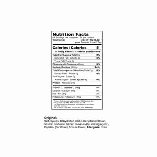 Original Sausage Seasoning Nutrition Label