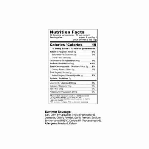 Summer Sausage Seasoning Nutrition Facts