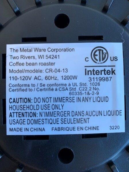 Coffee Bean Roaster Date Code 3220